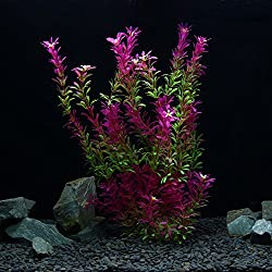 OWIKAR Aquarium Plants Artificial Plastic Aquarium Plants Red Gradient Color Fish Tank Decorations Landscape Lifelike Water Plants Detachable Leaves (30cm/11.8inch)