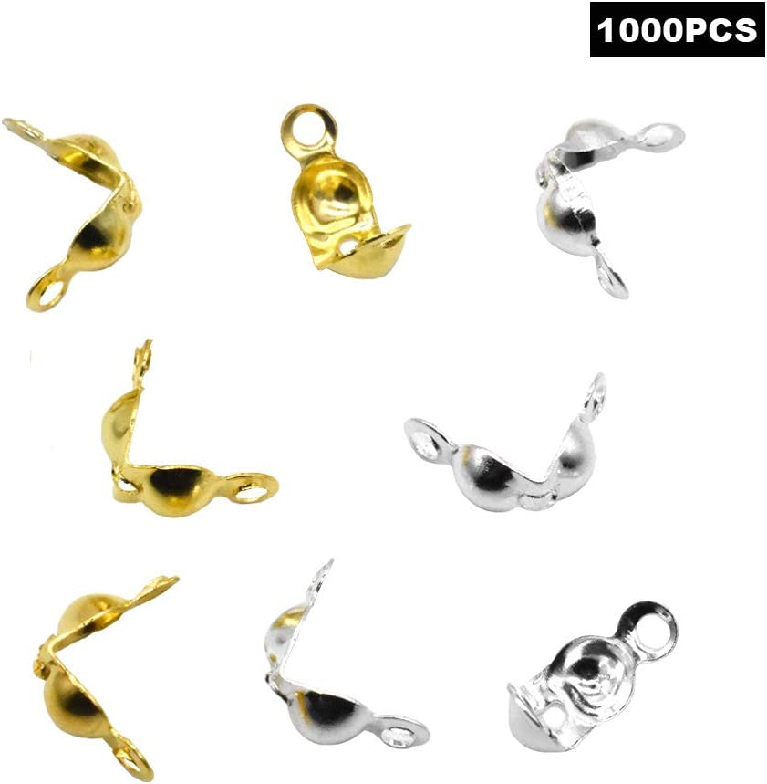 1000Pcs Metal Open Bead Tips Knot Covers for Jewelry Making DIY Findings Crafts Gold and Silver 5180uSkGDpL