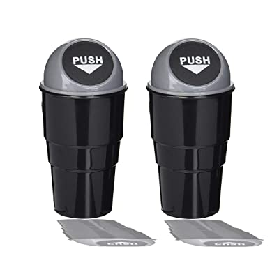 YIOVVOM Vehicle Automotive Cup Holder Garbage Can Small Mini Trash Bin Car Trash Garbage Can for Car Office Home (Gray-2PCS): Automotive