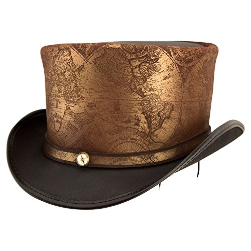 American Hat Makers hAtlas by Steampunk Hatter Leather Top Hat, Black Finished - (Patent Leather Hat Band)
