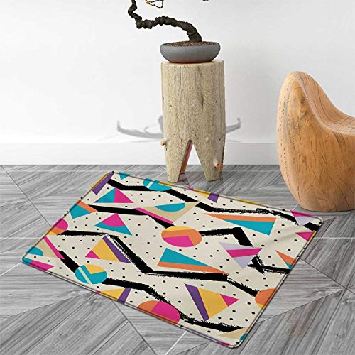 Indie Floor Mat for Kids Eighties Memphis Fashion Style Geometric Abstract Colorful Design with Dots Funky Door Mat Increase 4'x5' Multicolor ()
