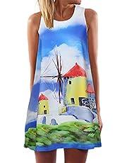 Vestiti Gonne Mini Abito Corto da Donna Vintage Senza Maniche a Stampa Casual da Donna Estate Stampa Slim Taglie Forti Vestito Canotte Spiaggia Vestito Estiva da Donna Mini Boho Gilet Beach Dress