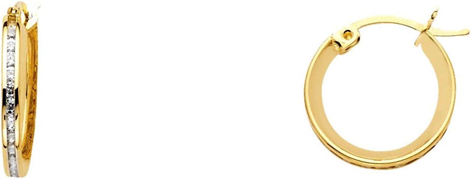 10KT YELLOW GOLD 13MM X 2MM HUGGIES EARRINGS-Gift Box-Free Shipping GUARANTEED!