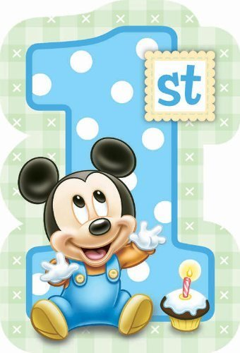Mickey Mouse 1st Birthday Invitations w/ Envelopes (Baby Mickey Mouse Invitations)