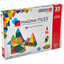Magna-Tiles 32 Piece Set Magnetic Construction Tiles, Solid Colors