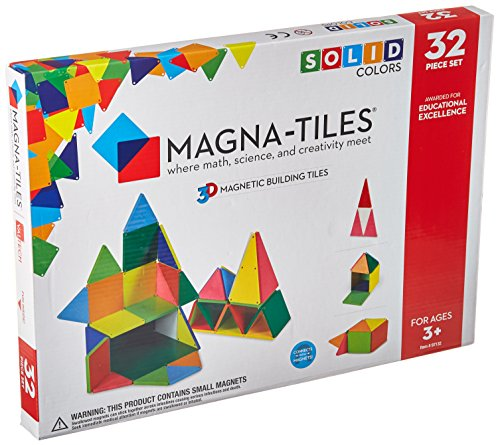 Magna-Tiles 32-Piece Solid Colors Set - The Original, Award-Winning Magnetic Building Tiles - Creativity and Educational - STEM Approved