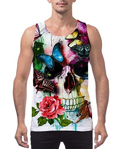 Belovecol Mens Cool Butterfly Skull Print Tank Top Summer Breathable Running Tees Sleeveless Beach T Shirts (Butterfly Print Tank Top)