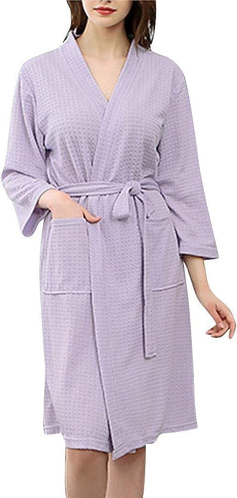 DianShaoA Mujer Super Suave Pijama Lencería Kimono Corto De Waffle Albornoz con Cinturon