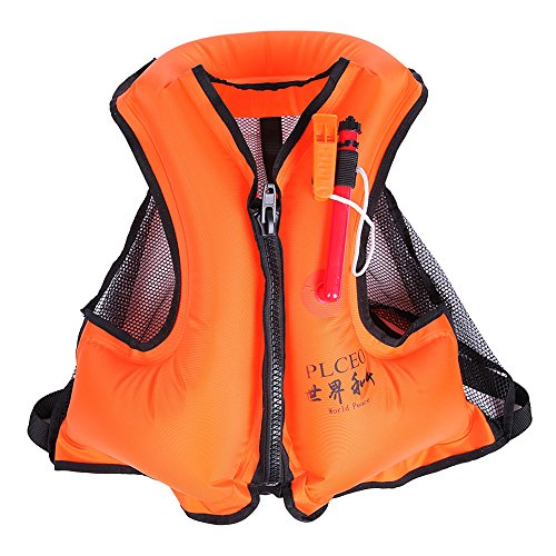 Plceo Jacket Style Zippered Inflatable Canvas Life Jacket...
