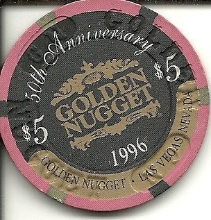 Golden Nugget Casino Chips ($5 golden nugget 50th anniversary hotel rare vintage las vegas casino chip)