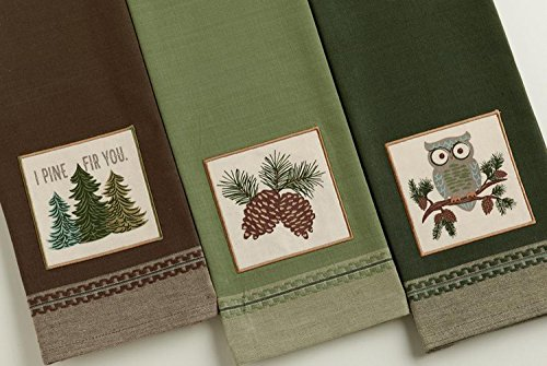 (Design Imports Mountain Pine Cotton Table Linens, Dishtowel 18-Inch by 28-Inch, Set of 3, 1 I Pine Fir You Embellished, 1 Pinecone Sprig Embellished and 1 Cascade Owl Embellished)