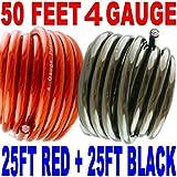 4 Gauge Hyperflex Power Wire Ground Amp Install Flexible 50 Ft Black + 25 Ft Red