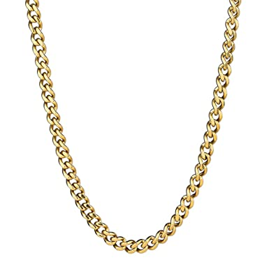b56397a7d27a4 KRKC&CO 5.5mm Mens Miami Cuban Link Chain 14k Gold Plated Stainless ...