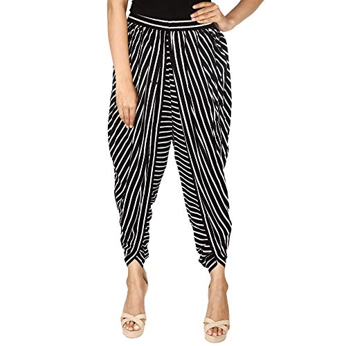 Black and White Striped Rayon Dhoti Pant, Patiala Dhoti Salwar, Dhoti Trousers for Women, ()