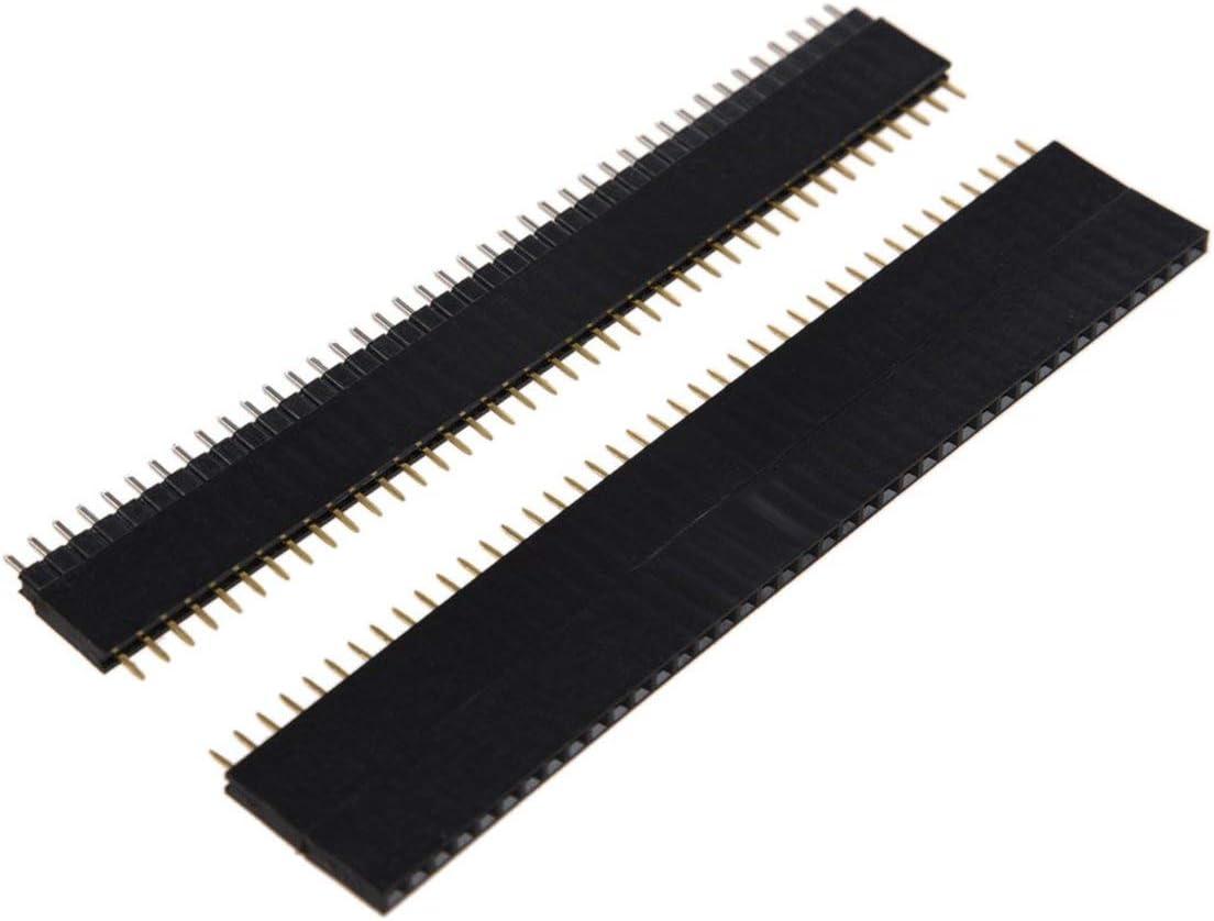 Funnyrunstore 5 PCS 40 Broches 2,54 mm /à Une rang/ée m/âle Droit avec Bande de t/ête de Broche Femelle AD Prise de t/ête de Broche Durable Noir