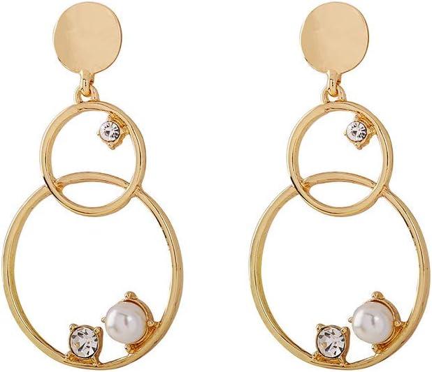 BEAUTYLEE Pendientes de Mujer Pendientes de Anillo de Calabaza con Perlas de Piedras Preciosas Accesorios de joyería