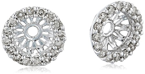 14k White Gold Diamond Classic Halo Earrings Jackets (1/6 cttw, J-K Color, I2-I3 Clarity) by Amazon Collection
