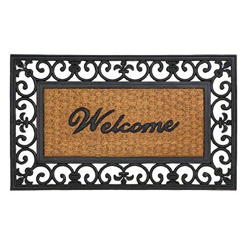 (Achim Home Furnishings WRM1830FL6 Fleur De Lis Wrought Iron Rubber Door Mat, 18 by 30