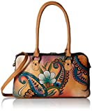 Anna by AnuschkaWomen's Genuine Leather Satchel | Multi-Compartment | Hand-Painted Original Artwork | Floral Paisley