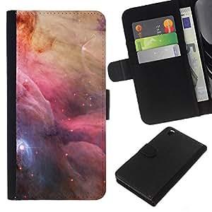 KLONGSHOP // Tirón de la caja Cartera de cuero con ranuras para tarjetas - Espacio Nebulosas Sky Majestic Universo Estrellas - HTC DESIRE 816 //