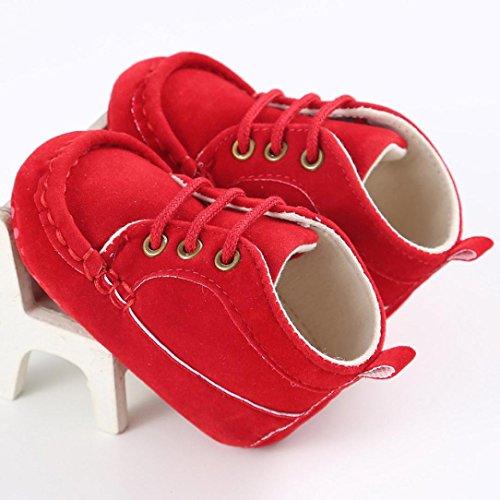 Tefamore zapatos bebes de primeros pasos de antideslizante de sole suave de moda invierno de calentar Rojo