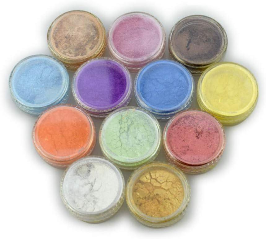 eamqrkt Polvo de Pigmento de Mica de 12 Colores para Tinte de Resina, colorante, colorante, Tinte, Arte