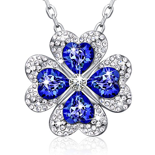Swarovski Crystal Blue Necklace - CAROLIER JEWELRY Four Leaf Clover Design Pendant Necklaces - Symbol of Good Luck - Perfect Gift for Mothers Day, Christmas Day, Anniversary Day, and (Famous Couple Costumes Ideas)