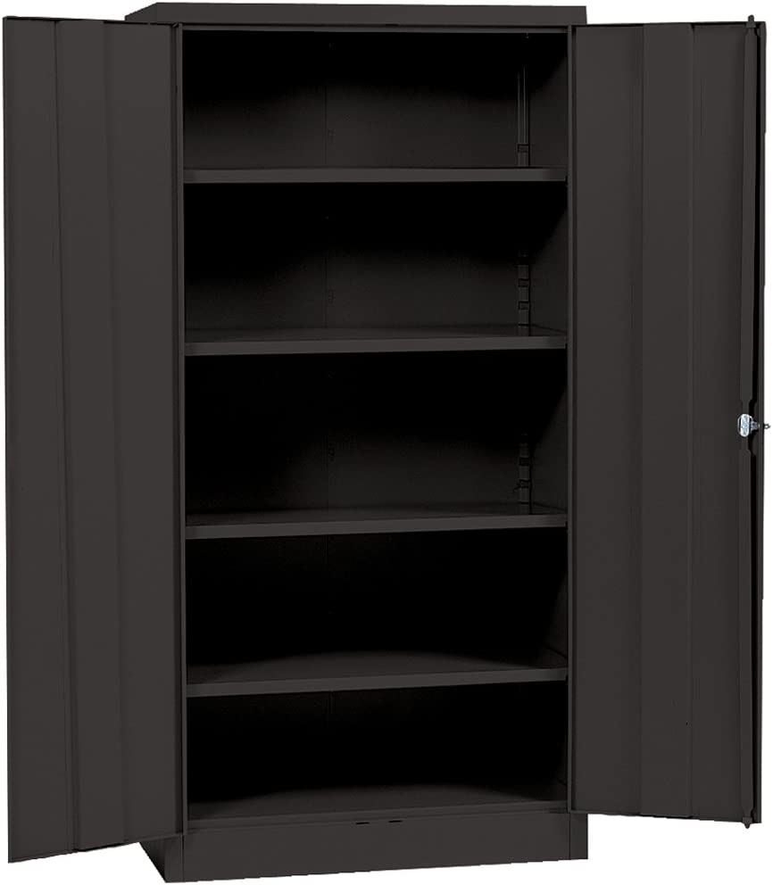 "Sandusky Lee Black Steel SnapIt Storage Cabinet, 4 Adjustable Shelves, 72"" Height x 36"" Width x 18"" Depth"