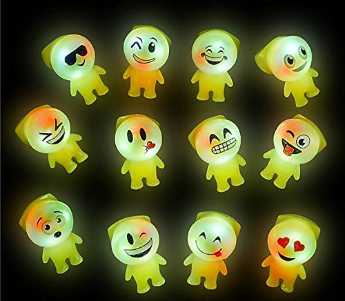 50 Bright Flashing Emoji Emoticon Buddy LED Rings WHOLESALE LOT BY DISCOUNT PARTY AND NOVELTY -