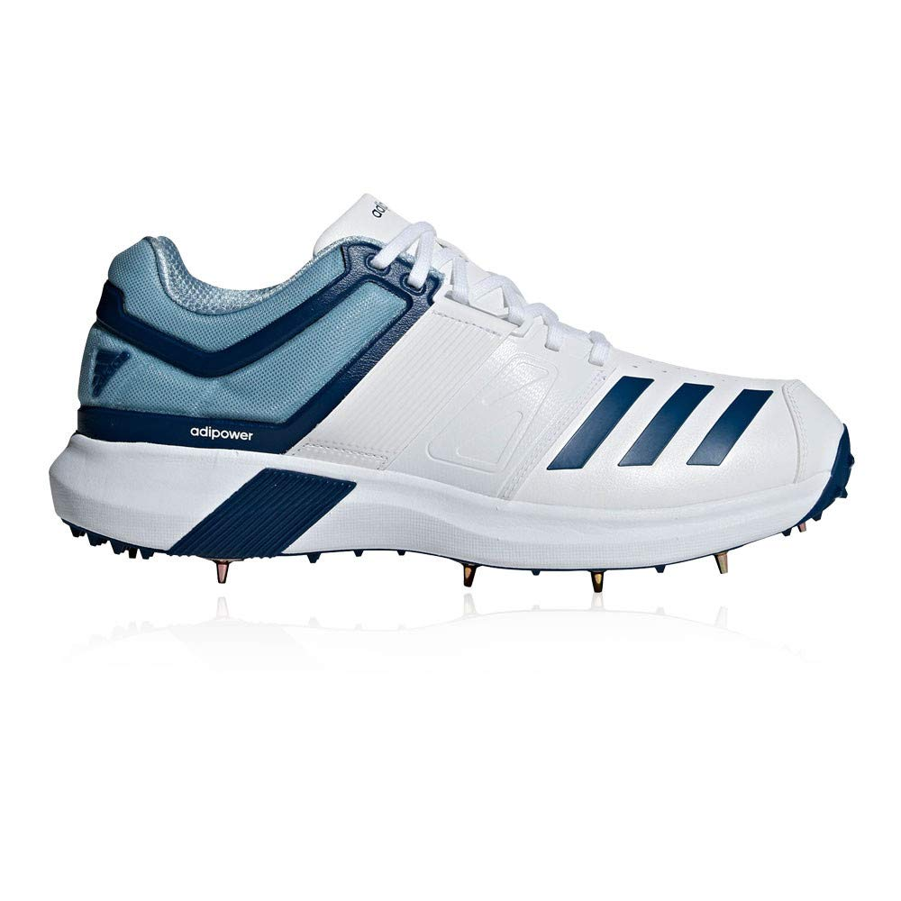 adidas Adipower Vector Mens Adult Cricket Trainer Spike Shoe White/Blue - UK 9.5