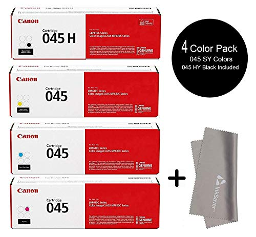 (Canon 045 HY Black High Yield Toner with 045 Standard Cyan Magenta Yellow Toners Set- for Canon Color imageCLASS MF632Cdw, LBP612Cdw, MF634Cdw Printers + InkSaver Microfiber LCD Screen Cleaning)