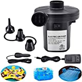 ONG NAMO Electric Air Pump for Inflatables, Portable Quick Air Pump with 3 Nozzles for Air Mattresses Beds Boats Swimming Rin