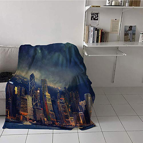 Khaki home Children's Blanket pop Print Artwork (50 by 60 Inch,Fabric,Hong Kong Cityscape in Stormy Weather Dark Cloudy Sky Waterfront Port Dramatic View,Navy Gold