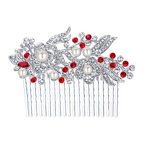(EVER FAITH Austrian Crystal Cream Simulated Pearl Flower Leaf Vine Hair Comb Red Silver-Tone)