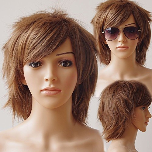 Unisex Women Short Curly Straight Cosplay Wig Anime Hair Tail Full Wigs Heat Resistant Synthetic Wig Wigs Japanese Kanekalon Fiber 20 Colors Full Wig for Women Lady Fashion and Beauty (light brown)... -