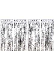 100 × 250 سم - 4 عبوات من الستائر المعدنية هامش الستائر اللامعة لديكورات الحفلات المعدنية المعدنية المعدنية المعدنية المعدنية هامش مبهج الستار عيد ميلاد سعيد الديكور