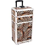 SUNRISE Makeup Rolling Case I3263 2 in 1 Professional Organizer, 3 Slide Trays and 3 Drawers, Locking with Mirror and Shoulder Strap, Brown Leopard