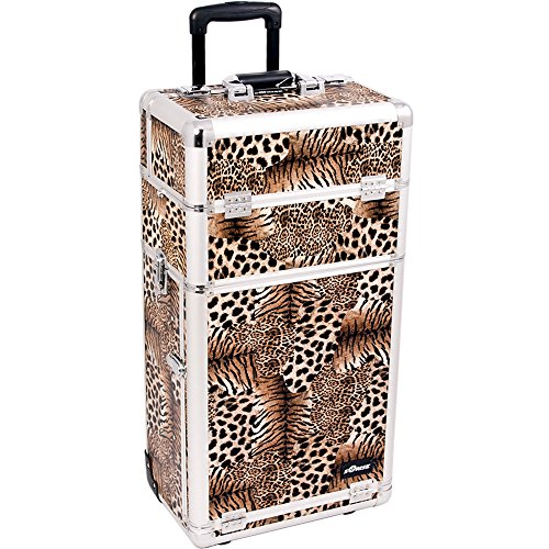 SUNRISE Makeup Rolling Case I3263 2 in 1 Professional Organizer, 3 Slide Trays and 3 Drawers, Locking with Mirror and Shoulder Strap, Brown Leopard by SunRise