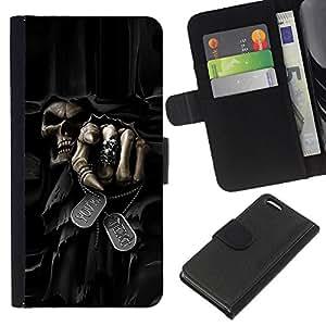 KingStore / Leather Etui en cuir / Apple Iphone 5C / Muerte Parca cráneo Evil