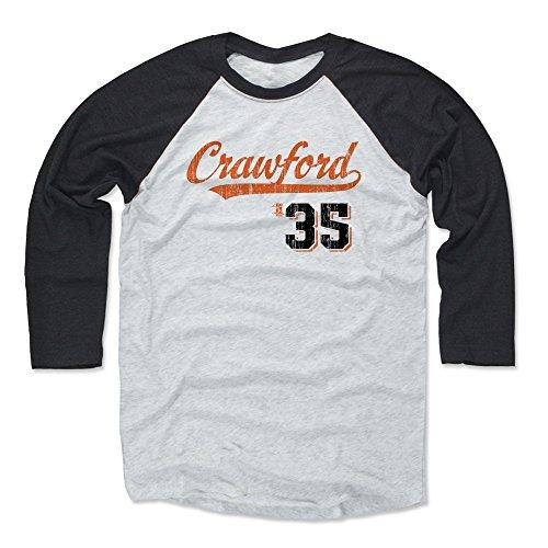 Giant Script Tee - 500 LEVEL Brandon Crawford Baseball Tee Shirt XX-Large Black/Ash - San Francisco Baseball Raglan Shirt - Brandon Crawford Script O