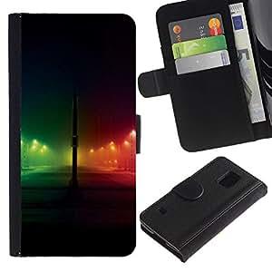 [Neutron-Star] Modelo colorido cuero de la carpeta del tirón del caso cubierta piel Holster Funda protecció Para Samsung Galaxy S5 V SM-G900 [Rainbow Night City Negro]