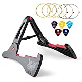 Vangoa AGS-03 Folding Anti-slipping Guitar Stand for Acoustic/Electric Guitars, Bass, Ukulele, Banjo and violin with 6 Acoustic Guitar Strings and Picks