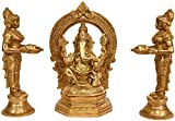 Lord Ganesha Worshipped by Lamp Goddesses (Set of Three Statue) - Brass Statue