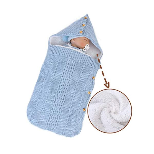 Unisex Baby Newborn Knit Warm Swaddle Blanket Hooded Twist Swaddling Blanket Sack Stroller Wrap Sleeping Bag