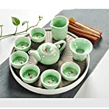 Chuangrong Vintage Chinese & Japanese Style Porcelain Handmade Kung Fu Tea Set, 13-Pack