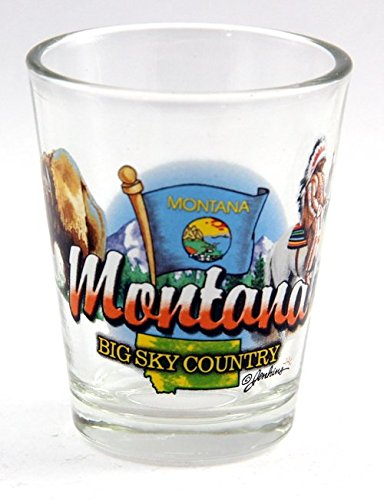 Glass Shot Montana (Montana Big Sky Country State Elements Shot Glass)