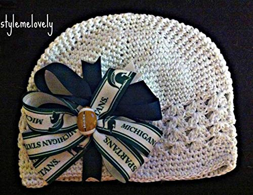 Michigan State Spartans Boutique Bow Crocheted Kufi Hat, Newborn- Adult Sizes