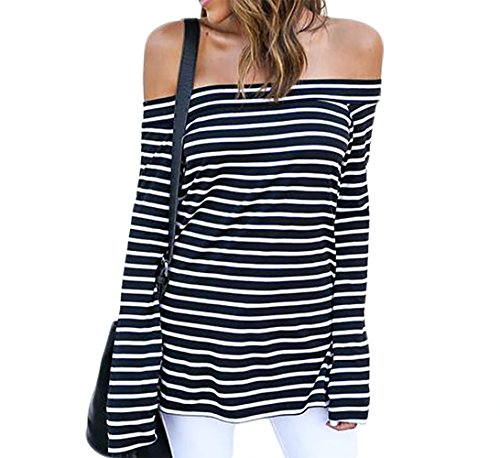 (Womens Sexy Off The Shoulder Tops Long Sleeve Shirts Striped Juniors Casual Tops BlackStriped M)
