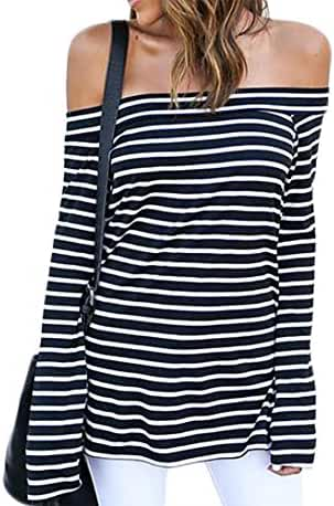 ZJCT Women's Off Shoulder Belled Long Sleeves Striped Shirts Casual Juniors Top