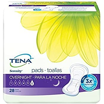 TENA Serenity Overnight Ultimate Pads, 28 Count - Pack of 4